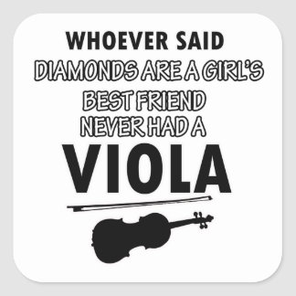 Viola music designs square sticker