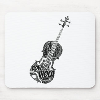 Viola Shaped Word Art Black Text Mousepads