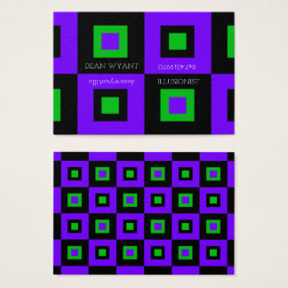 Violet & Acid Green Checkerboard Illusion Business Card