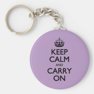 Violet African Keep Calm And Carry On Black Text Key Chains