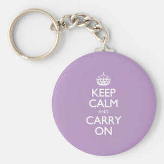 Violet African Keep Calm And Carry On White Text Key Chains