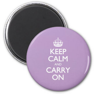Violet African Keep Calm And Carry On White Text Magnet