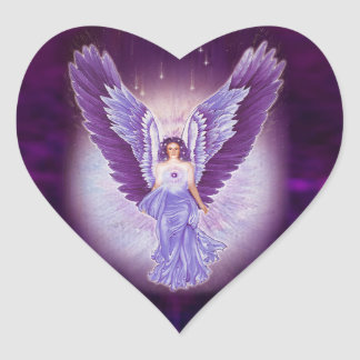Violet Amethyst Angel Heart Stickers