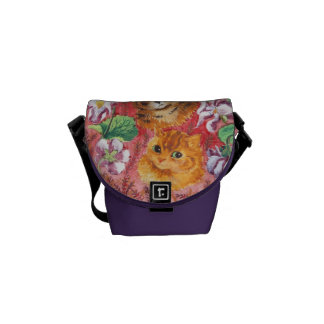 Violet and Cats, Louis Wain Messenger Bag