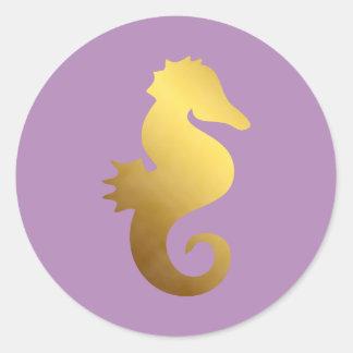 Violet and Faux Gold Foil Seahorse Sticker