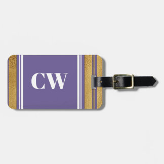 Violet and Gold Monogram Chic Stylish ID Tag