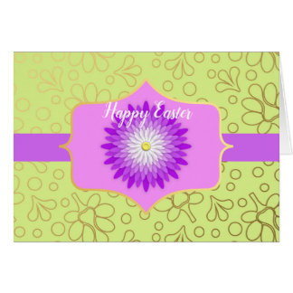 Violet and Green Floral Easter Card