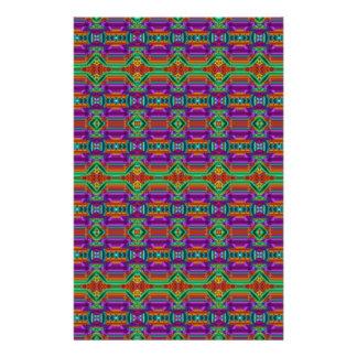 Violet And Green Grid Pattern. Elegant Design Full Color Flyer