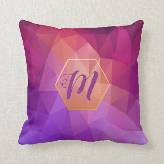 Violet and purple graphic pattern with monogram cushion