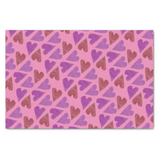 Violet and Red Hearts Tissue Paper