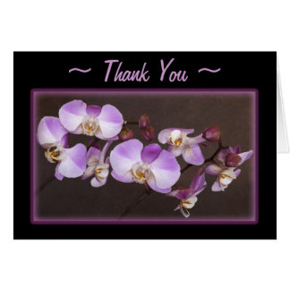 Violet and White Orchid Close Up Photograph Card