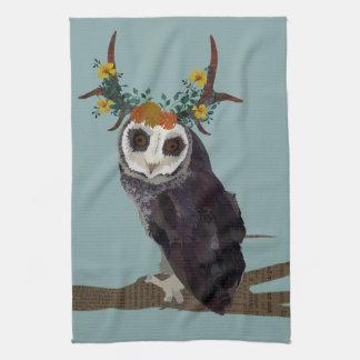 VIOLET ANTLER OWL Towel