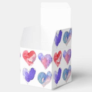 Violet Aqua Pink Hearts 5 Paper Box Favor Box
