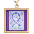 Violet Awareness Ribbon Angel Jewellery Necklace