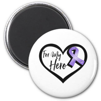 Violet Awareness Ribbon For My Hero 6 Cm Round Magnet