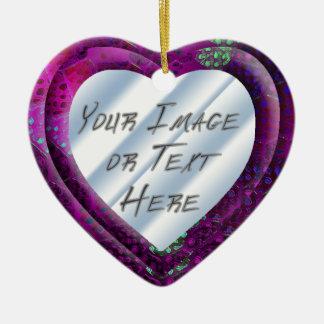 Violet Batik Heart Frame Ceramic Heart Decoration