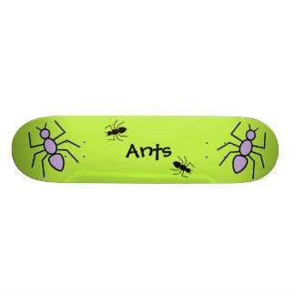 Violet & Black Vector Ants -Grass Green Background Skate Board Deck