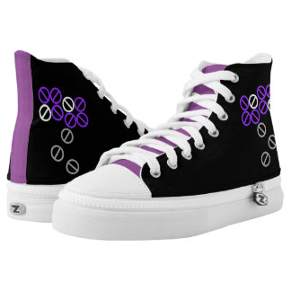 Violet Blue Circle Flower Floral High Top Shoes Printed Shoes