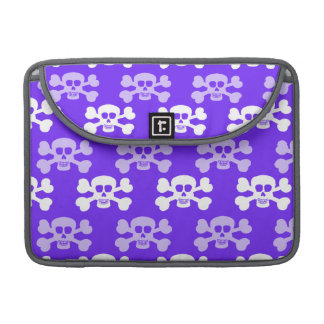 Violet Blue, Purple and White Skull & Cross Bones Sleeve For MacBook Pro