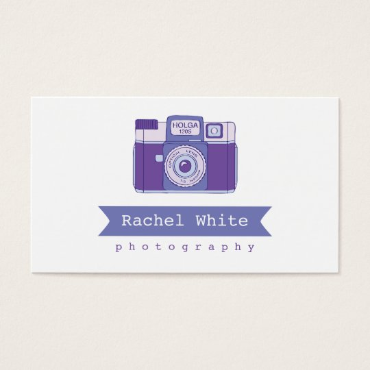 Violet & Blue Vintage Camera Biz Card