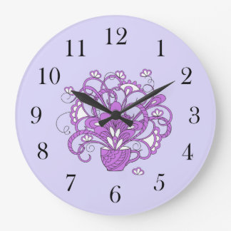 violet bouquet in the cup large clock