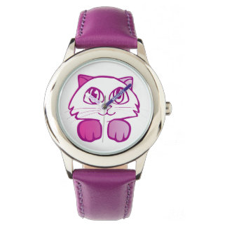 Violet cat no numbers watch