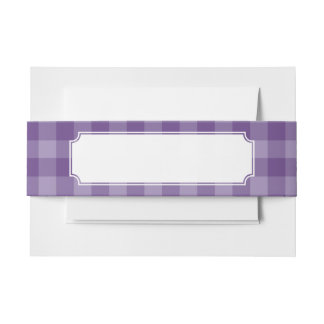 Violet checkered background invitation belly band