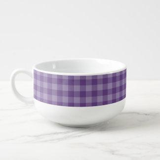 Violet checkered background soup mug