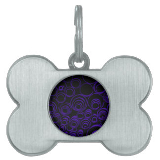 Violet circles rolls, ovals abstraction pattern UV Pet ID Tags