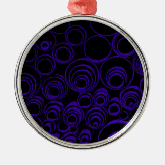Violet circles rolls, ovals abstraction pattern UV Silver-Colored Round Decoration