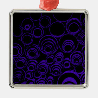 Violet circles rolls, ovals abstraction pattern UV Silver-Colored Square Decoration