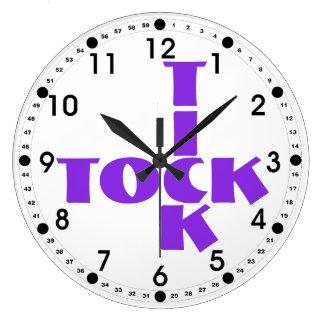 Violet Crossword Tick Tock Text Large Clock