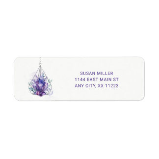 Violet Crystal Floral wedding return address
