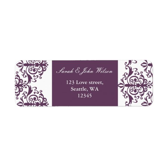 violet damask address lable