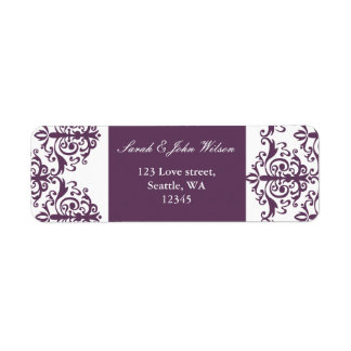 violet damask address lable return address label