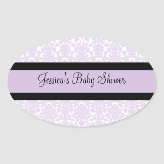Violet Damask Baby Shower Favor Stickers
