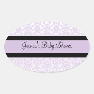 Violet Damask Baby Shower Favor Stickers