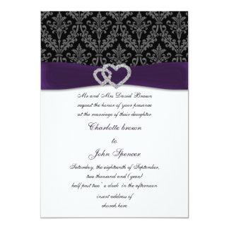 "violet damask diamante wedding invitation 5"" x 7"" invitation card"