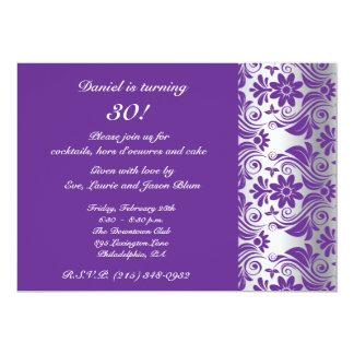 Violet damask pattern card 13 cm x 18 cm invitation card