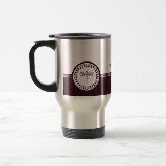 Violet Dragonfly Emblem Travel Mug