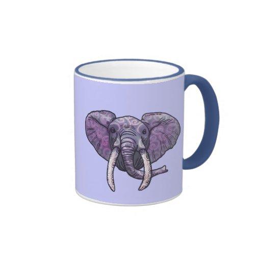 Violet Elephant Face Ringer Mug