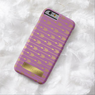 Violet Faux Gold Foil Arrows Pattern Barely There iPhone 6 Case