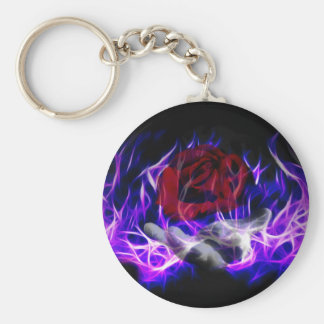 Violet flame rose and Gods hand Basic Round Button Key Ring