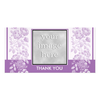 Violet Floral and Elegant  Thank You Photo Cards