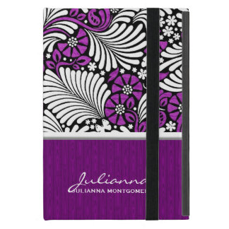 Violet Floral and White Retro Styling iPad Mini Cover
