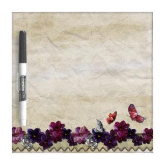 Violet floral butterflies dry erase board