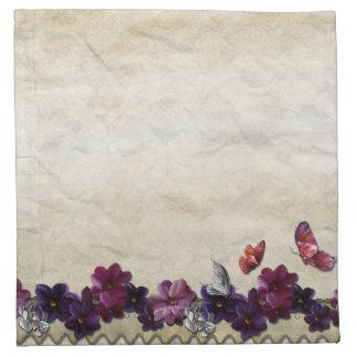 Violet floral butterflies napkin