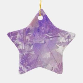 Violet Floral Ceramic Star Decoration