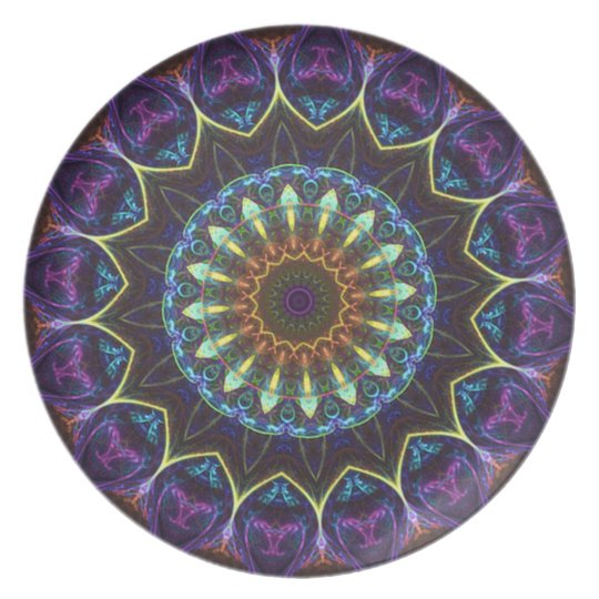 Violet Floral Kaleidoscope Decorative Plate