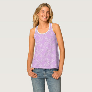 violet floral lace pattern tank top